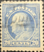Scott #515 Perf 11 US 1917 20c Ben Franklin Postage Stamp XF LH