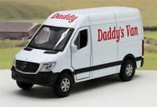 "PERSONALISED ""Daddy's Van"" Gift WHITE Mercedes Van Boys Toy Model Present Boxed"