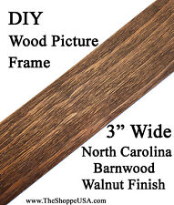 """Diy 30"""" x 40"""" 3"""" Wide Walnut Stained Barnwood Picture Frame Moulding"""