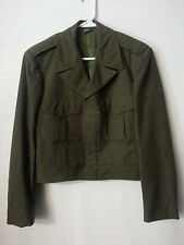 VTG 50 60s Military Green Wool Cropped Short Jacket Coat Bomber 38 S to S/M