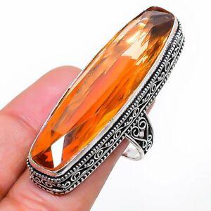 Citrine Gemstone Handmade 925 Sterling Silver Jewelry Ring Size 9 S570