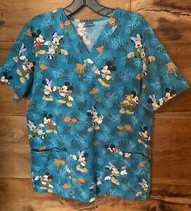 Disney S Women's Small Scrub Top Mickey Minnie Mouse Forest Animals Blue Nurses