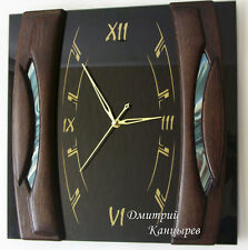 Wall clock black with blue rectangular square glass wood luxury stylish design