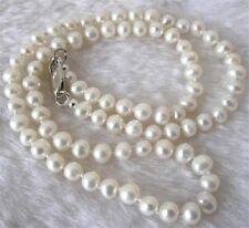 Natural Pearl 7-8mm White Akoya Cultured Pearl Necklace 18""