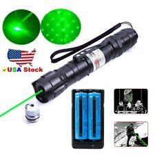 009 Green Laser Pointer Pen 532nm 50Miles 2in1 Star Beam Light 2xBattery+Charger