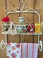 Shabby Chic Metal Kitchen Wall Shelf Unit Rack Towel Rail French Vintage Storage