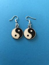 Yin Yang Ying  Drop Dangle Earrings Yoga Buddhist Meditation Om OHM