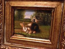 Country French Framed Oil Painting-Rabbit In A Field