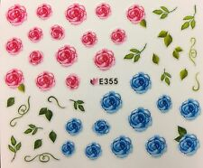 Nail Art 3D Decal Stickers Pink & Blue Roses E355