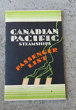 May 1931 Canadian Pacific Empress of Canada Steamship Info Passenger List Bklet