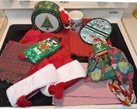 Mixed Lot Christmas Tin Mug Socks Potholder Scarves Placemats Stockings 13 items