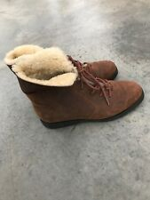 Amanda Smith Ankle Boots Shoes Outdoor B SZ 8 Womens Brown Leather Faux Fur
