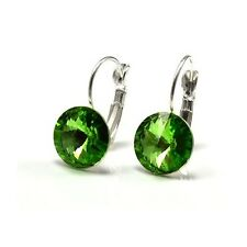 Silver Plated Earrings made with Swarovski Crystals 12mm Rivoli  - Colours