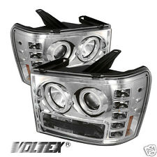 2007-2012 GMC SIERRA 1500 3500 CCFL LED PROJECTOR HEADLIGHTS LIGHTBAR CHROME