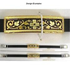 Damascene Gold Bracelet Rectangle Flower Design by Midas of Toledo Spain
