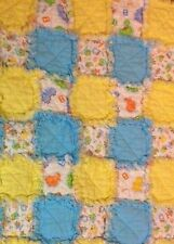 "Handmade Baby Rag Quilt Blue & Yellow Flannel 27"" x 33"" Toddler Blanket"