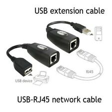 USB 2.0 Male to Female Cat 5e 6e RJ45 LAN Extender Extension Adapter Cable US