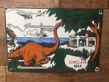 Vintage Sinclair Gas Dinosaur Heavy Porcelain Sign Gas & Oil Sign
