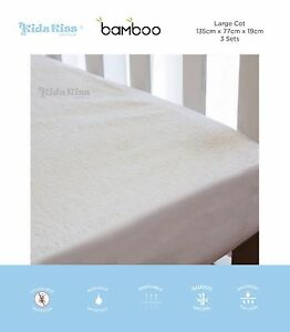 [3 Sets] Kidz Kiss Bamboo Waterproof Fitted Mattress Protector/Cover [Large Cot]