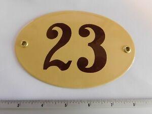 Art Deco - Enamel Porcelain Oval Metal House Door Number Street Sign Plaque 23