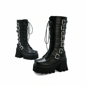 Punk Women Platform Chunky Heels Calf Knee High Boots Gothic Riding Boots Shoes