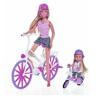 "STEFFI LOVE AND CHILD BIKE RIDE DOLL BICYCLE BARBIE SIMBA 11,5"" VELO BICYCLETTE"
