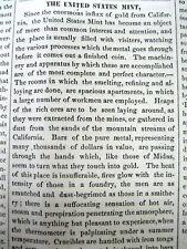 <1852 newspaper w description of the US MINT & new CALIFORNIA GOLD Numismatics