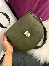FURLA Glenn Small Khaki Green Leather Crossbody Shoulder Bag Gold Hardware NWT