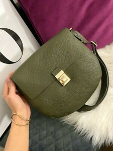 FURLA Glenn Small Khaki Green Leather Crossbody Shoulder Bag Gold Hardware NWT