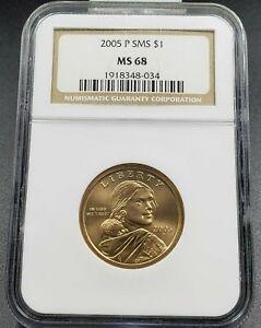2005 P Sacagawea Native Brass Dollar Coin NGC MS68 SMS $1 Satin Finish