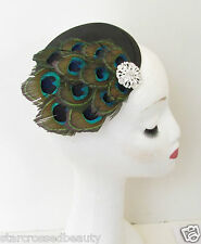 Peacock Feather Birdcage Veil Fascinator Vintage Races Black Headpiece 1920s M65