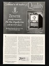 1952 Vintage Print Ad ZENITH Television Royalty Line TV 50's