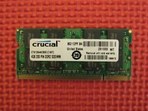 Crucial 4GB (1-Stick) PC2-6400 DDR2 800 SODIMM Memory Stick CT51264AC800.C16FC
