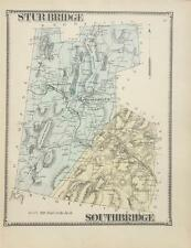 Antique Map Sturbridge and Southbridge, MA - Beers Atlas of Worcester Co 1870