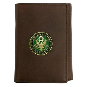 """Officially Licensed """"US Army"""" Medallion Trifold Handmade Leather Wallet 2 color"""