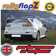 Rally style Mudflaps Mitsubishi Evo 10 Mud Flaps Black Kaylan PU (White R&O)