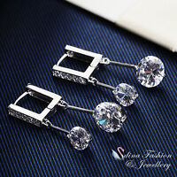 18K White Gold Plated Simulated Diamond Extra Sparkling Square Huggie Earrings
