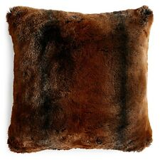 """NEW Hudson Park Frosted Faux Fur 20"""" Square Decorative Pillow Brown $130 G2056"""