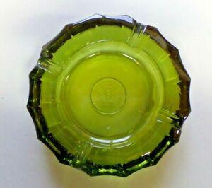 "Vintage 5 1/4"" Diameter Fostoria Olive Green Coin Glass Round Ashtray Heavy"