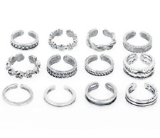 12 pack of SILVER RINGs TOES THUMB FINGERS STACKING. ADJUSTABLE. Gift Christmas