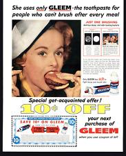 1959 VINTAGE PRINT AD GLEEM TOOTHPASTE WOMAN EATING HAMBURGER COUPLE KISSING