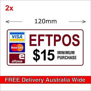 EFTPOS $15 Minimum Purchase Stickers MasterCard Visa Payment Transfer, 120mm