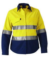 King Gee K44544 Ladies Workcool HiVis Reflective Yellow Navy Work Shirt Size 8