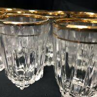 19 RARE Vintage Federal Glass Company Crystal and 24kt Gold-rimmed Shot Glasses