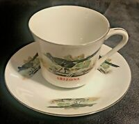 Vintage Souvenir Collectible Arizona Roadrunner China Cup Saucer Set   EXC