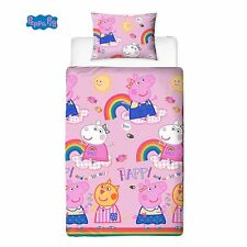 SINGLE BED DUVET COVER SET PEPPA PIG HOORAY RAINBOW PINK SUN HAPPY CLOUDS KIDS