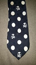 Disney Store Mickey Mouse 100% Silk Polka Dots Black & White Embossed Tie