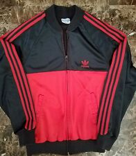Adidas Originals Trefoil Vintage 80s Track Jacket Black Red RUN DMC Sz M USA