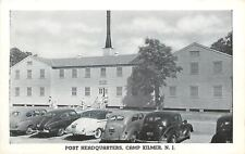Camp Kilmer New Jersey~Soldiers in Front of Post Headquarters~Nice 1930-40s Cars