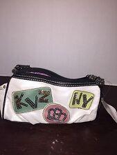 NEW WT Kathy Van Zeeland White Small Purse/ Handbag W/ Sequin Pattern